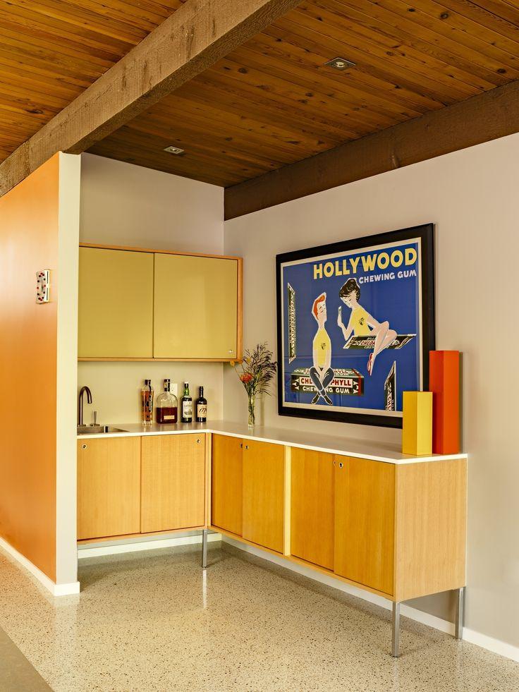 Reinvigorating a Classic Midcentury Home in Portland - Dwell #art #classic #bar #modern #dwell #midcentury