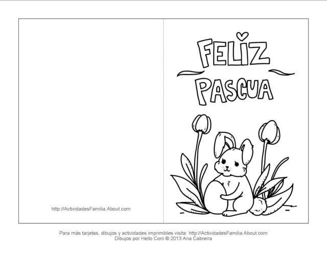 Tarjetas de pascua de resurrección para colorear: Tarjeta de conejito de pascua