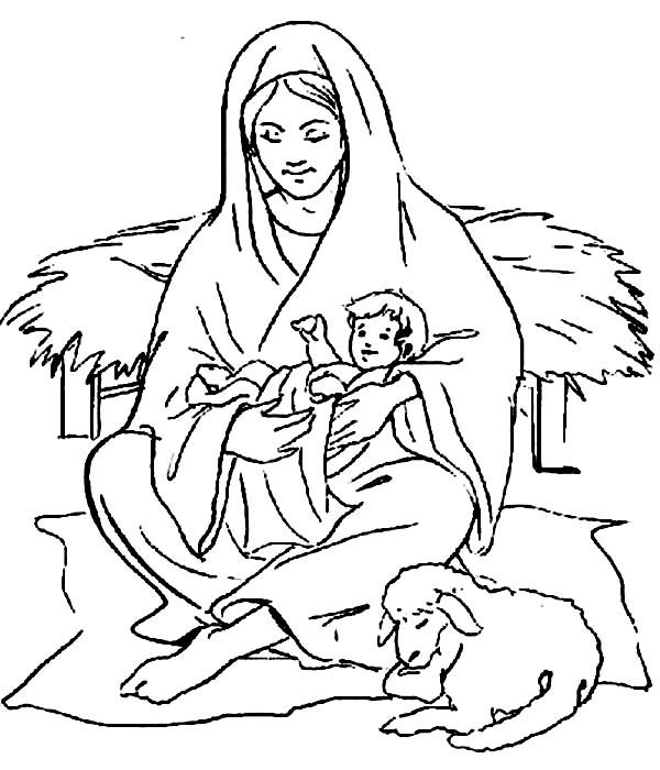 Baby Jesus Mary Sitting With Baby Jesus And A Shep Coloring
