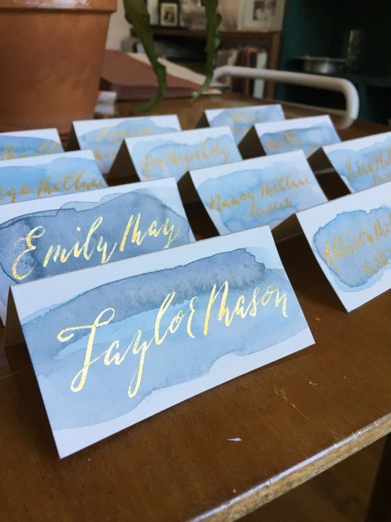 Blue Watercolor Escort Cards with Gold Calligraphy // modern, romantic, boho