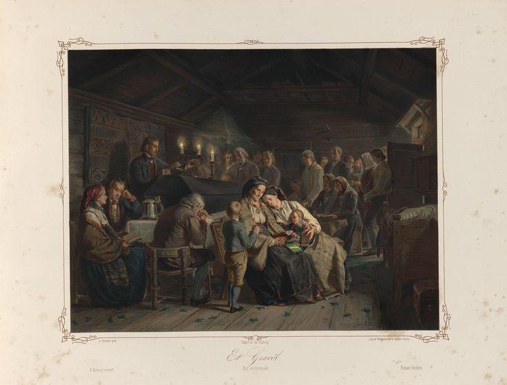 Norske Folkelivsbilleder 11 - Et Gravöl (Adolph Tidemand). jpg (4432×3372)