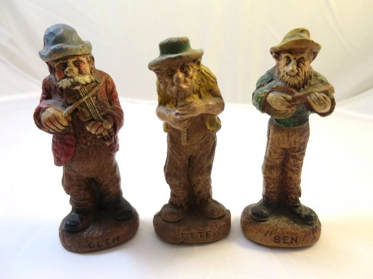 Vintage 3 Musician Figurines Primitive Folk Art Rustic Street Musician Group 3 Figures Violin Banjo Flute Clem Ben Pete Resin Figures by BonniesVintageAttic on Etsy