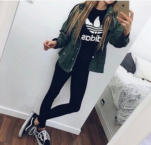 adidas tshirt , green jacket, black pants, black and white s8 hi vans