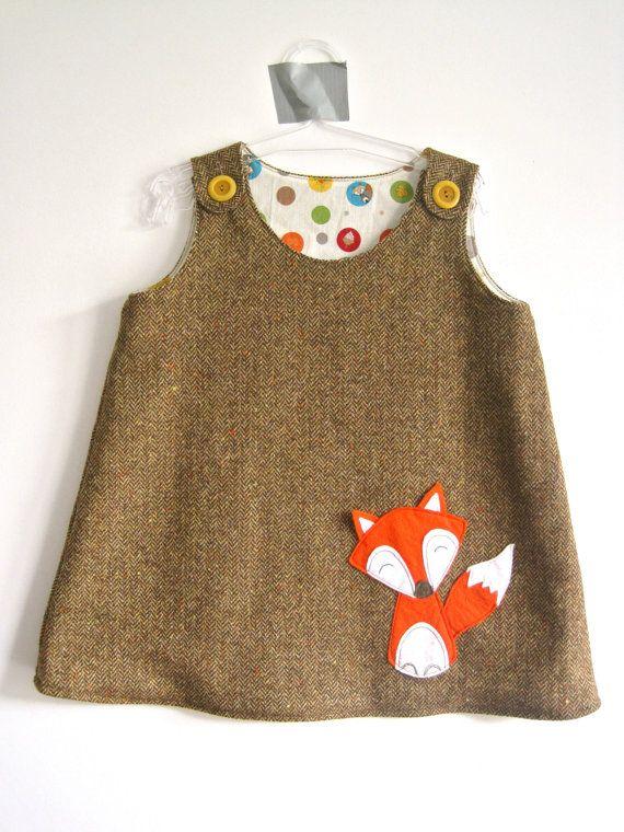 Woodland fall woolen baby girl dress with felt fox detail.