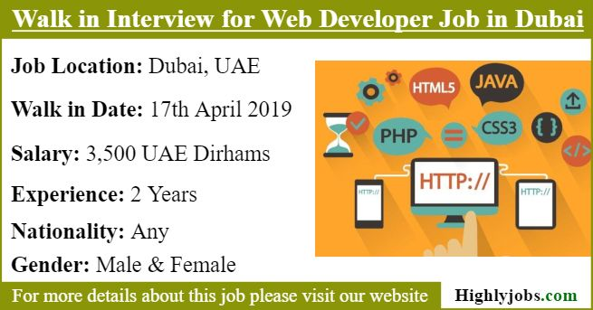 Walk In Interview For Web Developer Job In Dubai Development