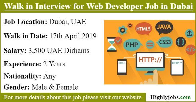 Walk In Interview For Web Developer Job In Dubai Development Web Development Job