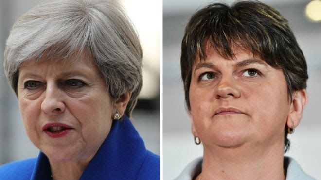 "The Democratic Unionist Party says it has had ""positive talks"" over a ""confidence and supply"" deal to support a Conservative government.  Theresa May was left eight seats short of an overall majority in the general election while the DUP won 10 seats.  Tory chief whip Gavin Williamson went to Belfast on Saturday for talks with the Northern Irish party.  The DUP said talks would continue next week to ""work on the details"" and ""reach agreement"".  A ""confidence and supply"" deal is not a full…"