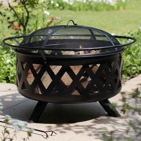 Bennett 30 Inch Cross Weave Black Steel Fire Pit With Spark Screen 30 X 22 X 30 In 2020 With Images Steel Fire Pit Black Steel Fire Pit