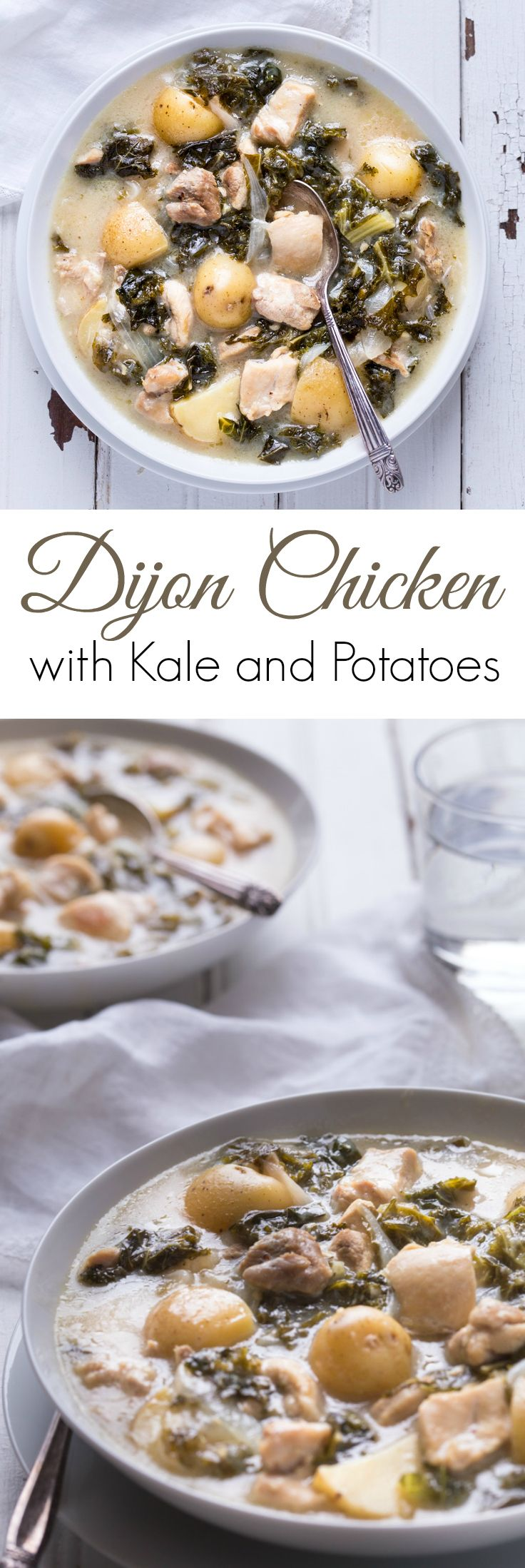Dijon Chicken Stew with Kale and Potatoes, so simple to make and with ingredients you can find anywhere! Perfect comfort food your whole family will love! | gluten free | paleo | primal | dairy free |