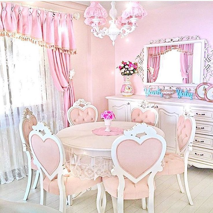 Shabby Chic Dining Room With Pink Table And Heart Chairs