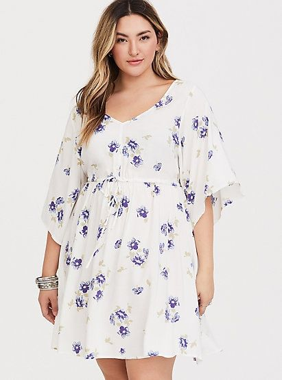 cd8748944cd3a White Floral Kimono Sleeve Challis DressPlus Size White Floral Kimono  Sleeve Challis Dress