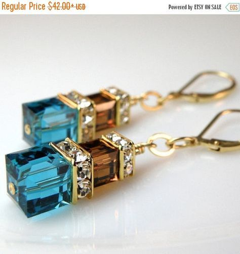 Teal and Chocolate Earrings Teal Blue and Brown Jewelry Gold