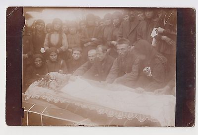 Vintage ww1 Real Photo Post Mortem Young Girl in Open Coffin Casket Sad Family