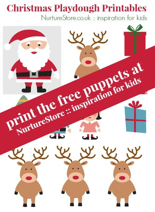 Free printable Father Christmas puppet set ~ great for imaginary play and story telling | NurtureStore :: inspiration for kids