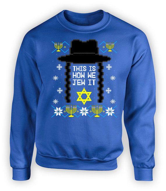 Funny Hanukkah Hoodie Ugly Sweater Jewish Gifts For Hanukkah Sweatshirt Chanukah Menorah Holiday Clothing Israel Crewneck Hoodie FAT-615