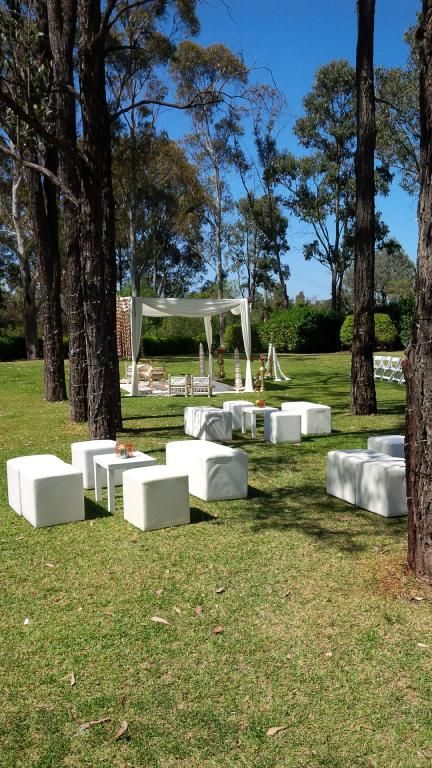 CJ & Arv's beautiful #outdoor #wedding #ceremony @Tamburlaine Organic Wines #white #ottomans