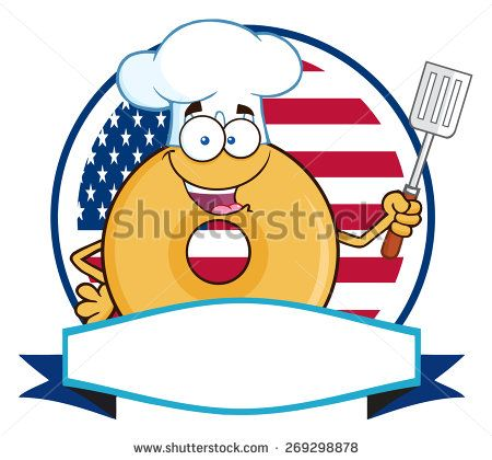 Chef Donut Cartoon Character Over A Circle Blank Banner In Front Of Flag Of USA. Raster Illustration Isolated On White