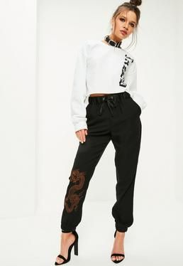Black Snake Print Embroidered Cuffed Joggers