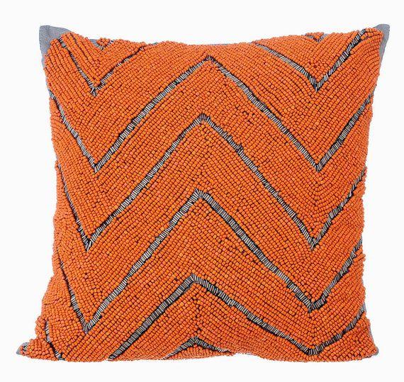 Orange Marshaland - 16x16 Orange & Grey Bead Embroidered Silk Throw Pillow.