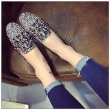 2016 Principios de la primavera nuevos solos zapatos colores mezclados rhinestones llenos de cabeza cuadrada zapatos planos de cuchara marea salvaje(China (Mainland))