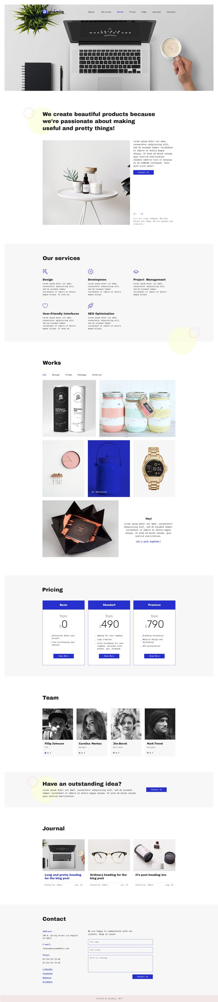 Dynamiq — Minimal and Creative Multipurpose Agency/Personal PSD Template by Aspirity