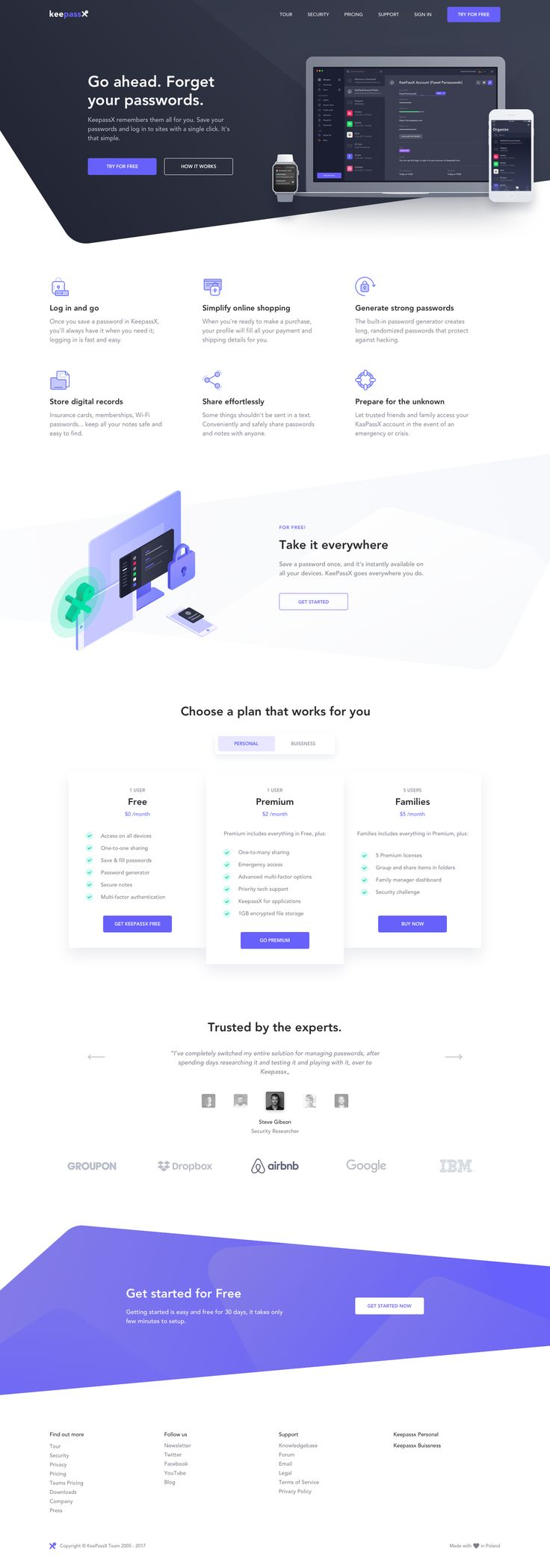 Landing page keepassx dribbble