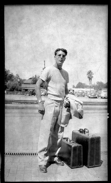Sample of traveling man with luggage in the 1940's by windryder, via Flickr