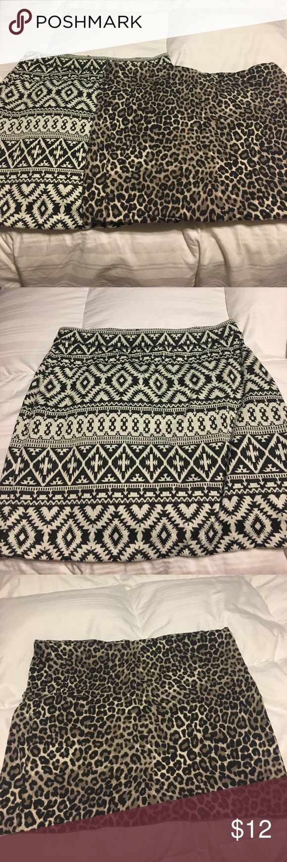 """BODYCON SKIRT bundle! Super cute bodycon skirts! Lot of 2.  Leopard is Large from H&M. Aztec print is Medium from gap outlet.  Sized to fit a woman with average size """"large"""" given the sizing of these two stores! Skirts Mini"""
