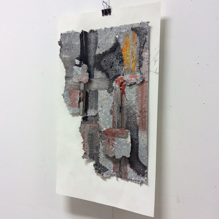 Session 8 mixed media collage  Ink acrylic metallic paint wood recycled paper on paper