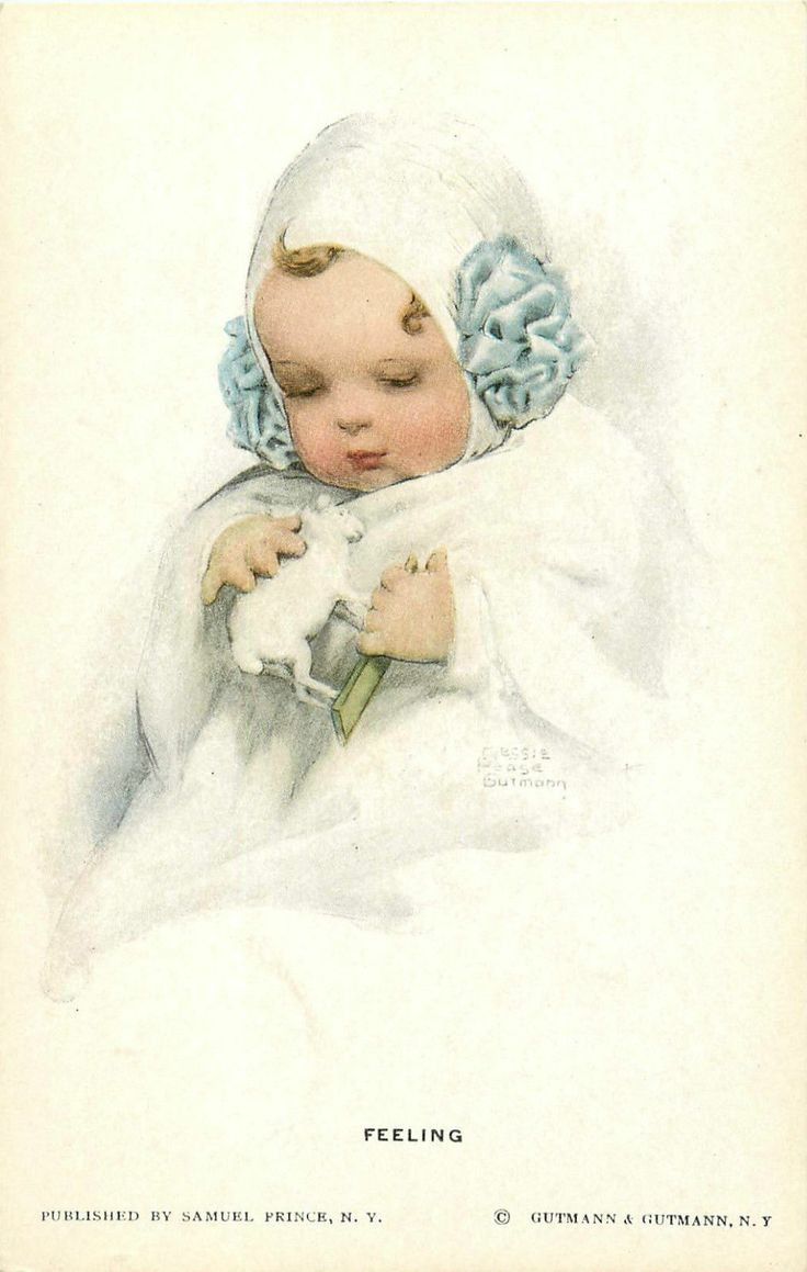 BESSIE PEASE GUTMANN A/S LITTLE GIRL HOLDING TOY LAMB P/C | eBay