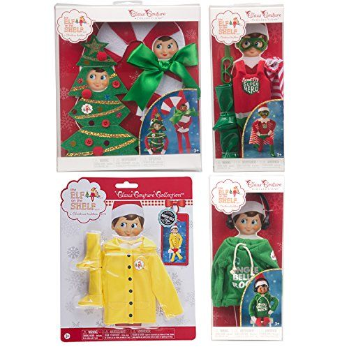 Elf on the Shelf 2017 Value Outfit Pack: Hoodie 2 Christmas Costumes Super Hero Outfit Raincoat
