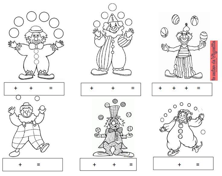 Fiche sur le + et le = Travail sur l'addition autour du thème du cirque, des clowns et du jonglage