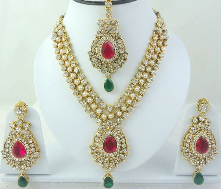 Indian Hot Pink Green Pearl Gold Tone Bollywood Bridal Necklace Set Jewelry 4 Pc