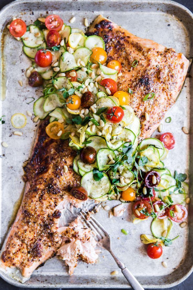 Honey Mustard Salmon With Summer Vegetable Salad Recipe