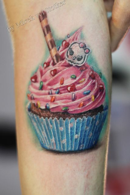 Cupcake tattoo without the skull