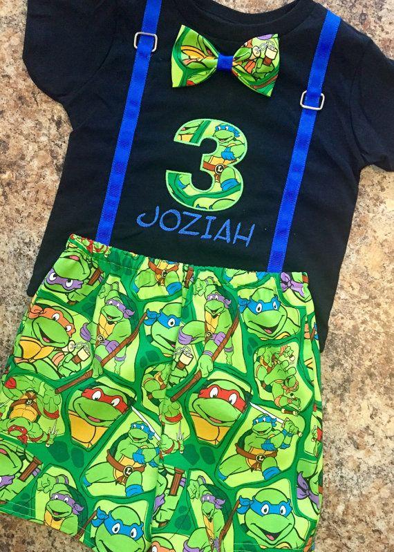 Birthday Ninja Turtle Shirt Black and by IrresistiblEmbroider