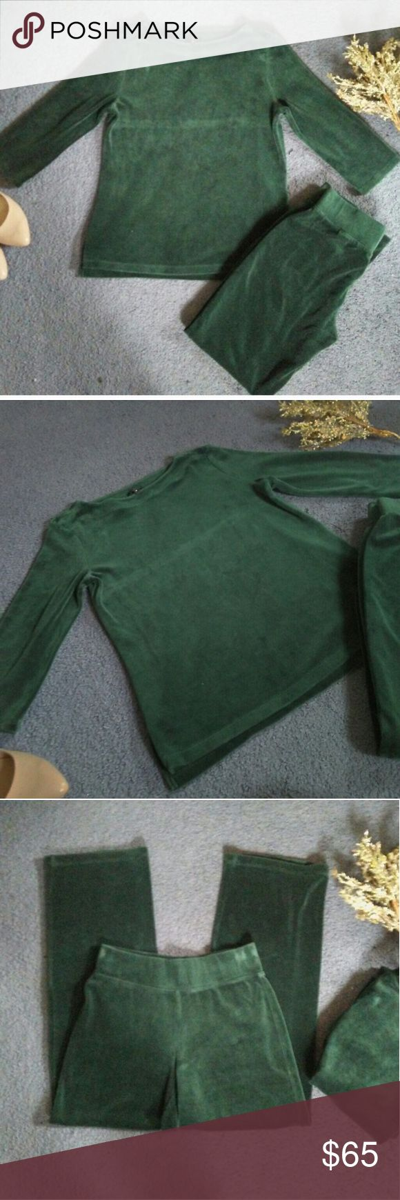 """? talbots loungewear set ? Talbots 2 piece velour loungewear set. Forest green. Size Small Petite -  Measurements: Shirt - Bust 18"""" & Length 23"""" with 2"""" slit on side bottom hem. Pants inseam 28"""" with elastic waistband  Brand new, never worn, recent purchase. Selling for friend. Talbots Pants Jumpsuits & Rompers"""