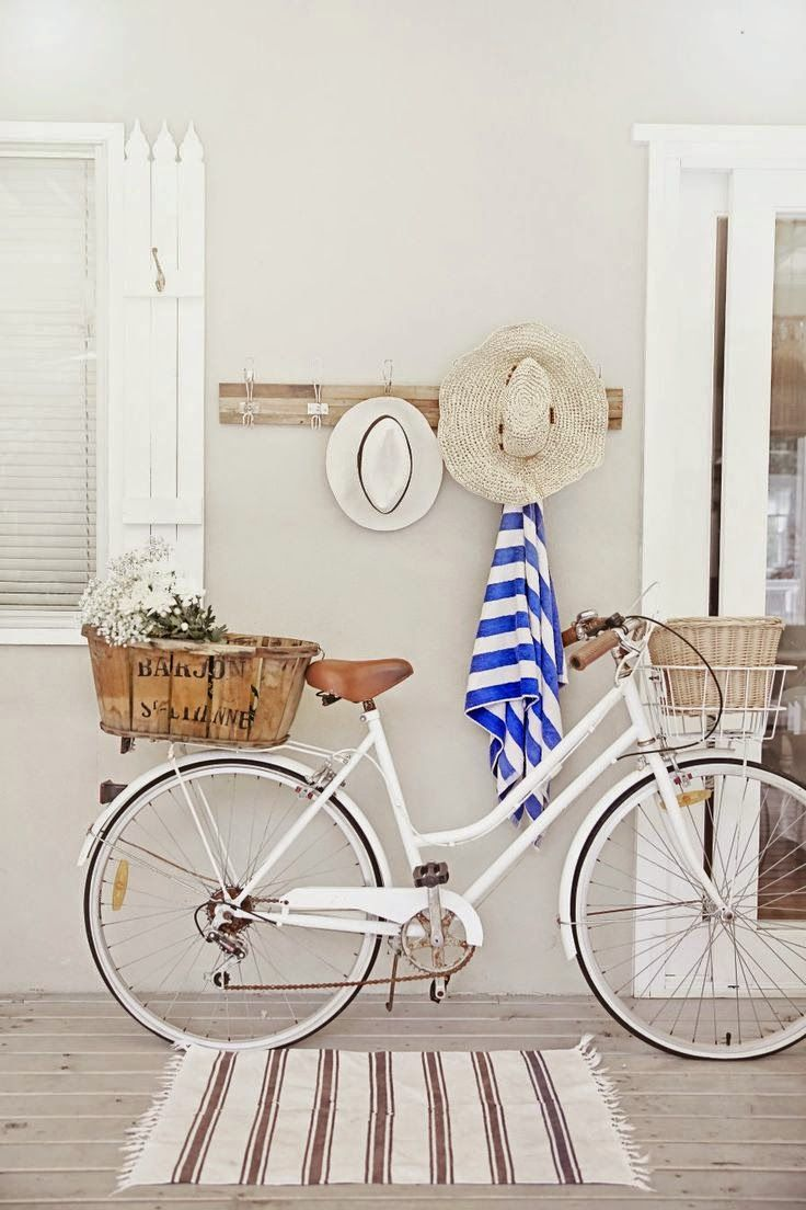 Summer living....beach cottage + coastal + white + french white bicycle with vintage basket