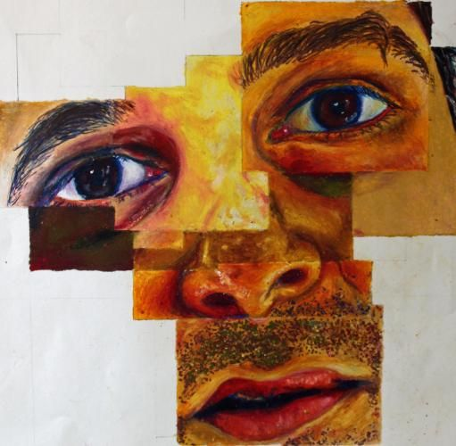 I love fragments within this piece, it looks like each of the features on the face are from a different person, i would like to do something in the style as I think it is very interesting and effective.
