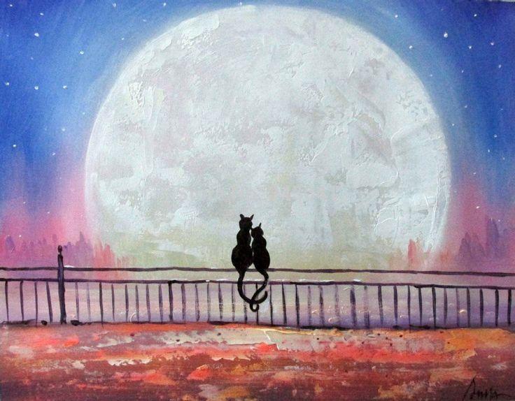 Artist Liyubo's Original oil Painting on wood frame abstract scenery Animal cartoon cat's love Landscpae by liyubo on Etsy