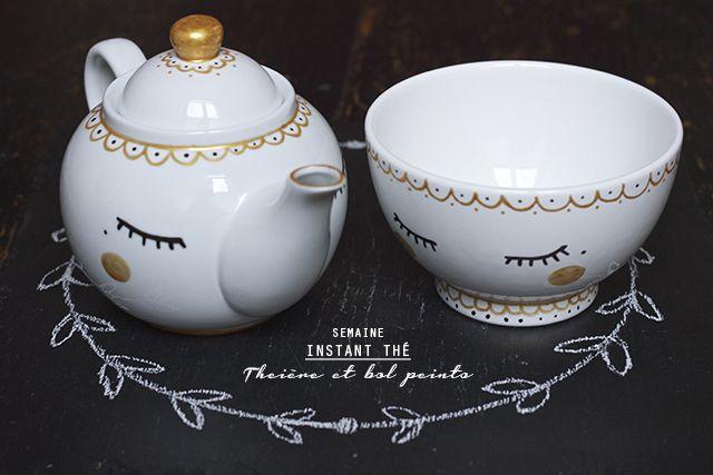 #DIY #peinture sur #porcelaine théière et bol sur www.ohlovelyplace.com