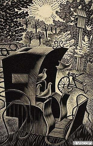 Eric Ravilious was the leading light of wood-engraving in England in the 1930s, and undertook ceramic designs for Wedgwood. He also designed graphics for London Transport.