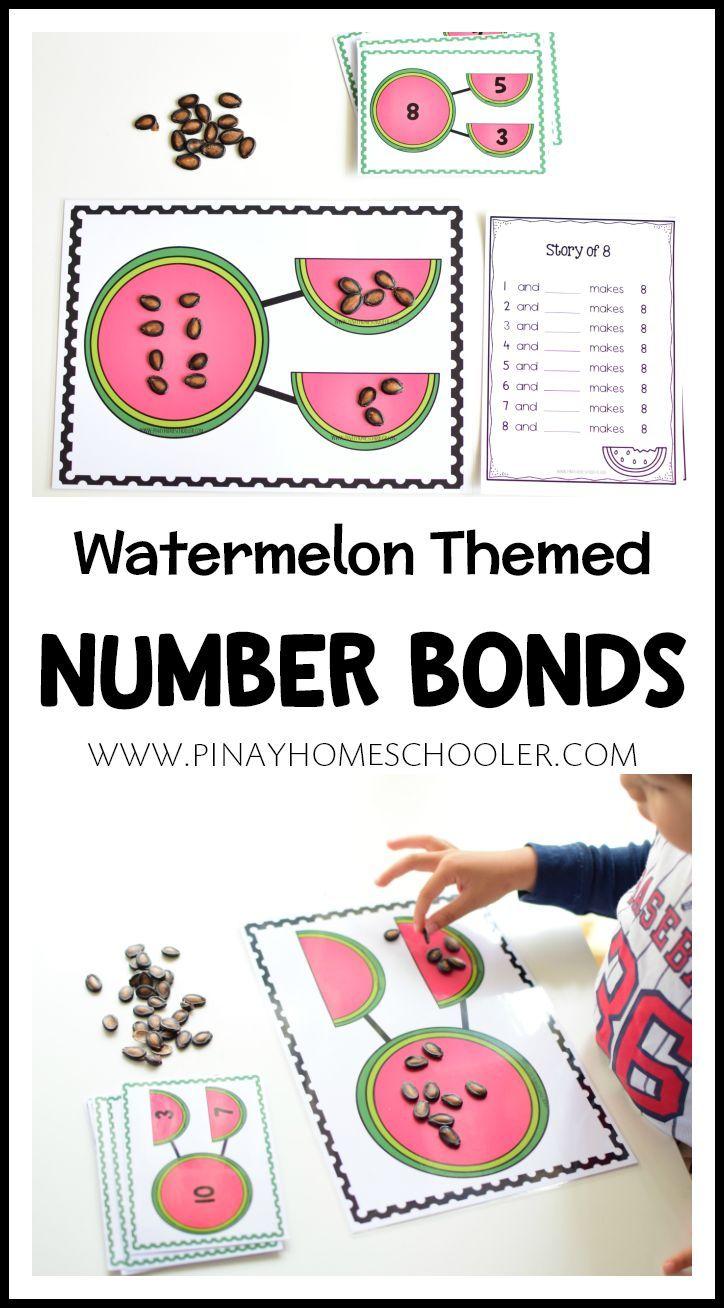 Watermelon Themed Numberbonds Teacherspayteachers Math Kindergarten Firstgrade Homeschool Printable Preschool Activities Number Bond Activities Fun Math [ 1308 x 724 Pixel ]