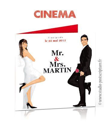 Cinéma faire-part mariage