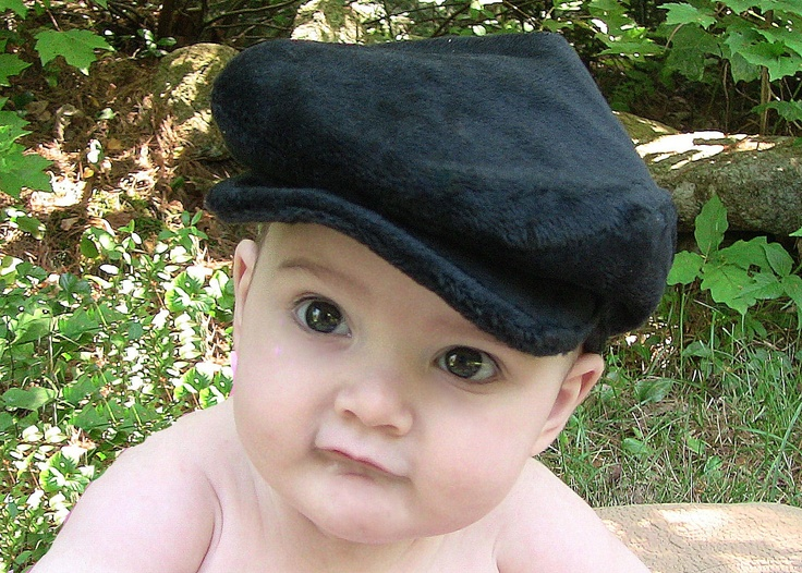 Newborn Gatsby/Newsboy Hat in black, one of a kind, super soft and ready to ship.  Limited supply. $18.00, via Etsy.