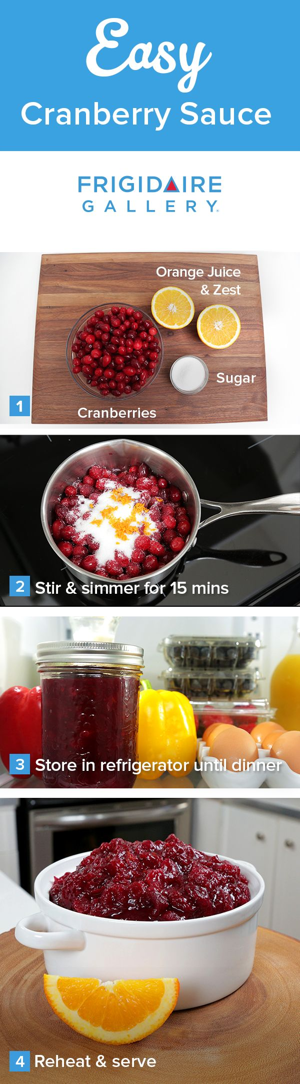 Homemade cranberry sauce can be easy! Check out @TheDomesticGeek's homemade cranberry sauce recipe with orange zest and sugar. Click for more great tips on how to save time this holiday season.