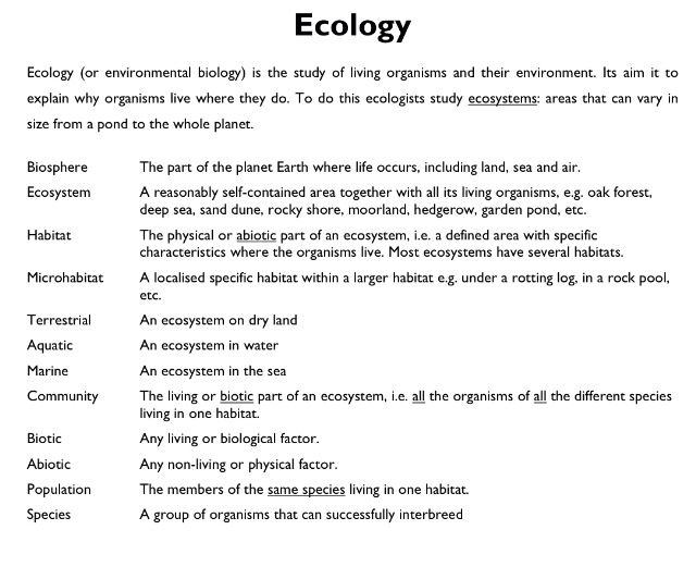 Image Gallery ecology definition