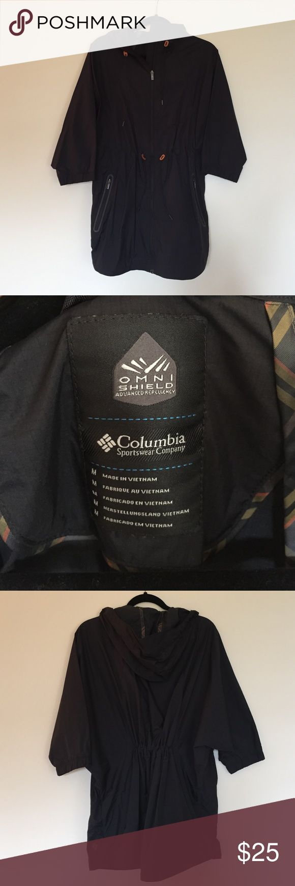 Columbia Rain Poncho Jacket Black Columbia rain poncho jacket with half sleeves. Great condition.  Excellent for warmer weather but you still need protection from the rain. Great for festivals! Columbia Jackets & Coats