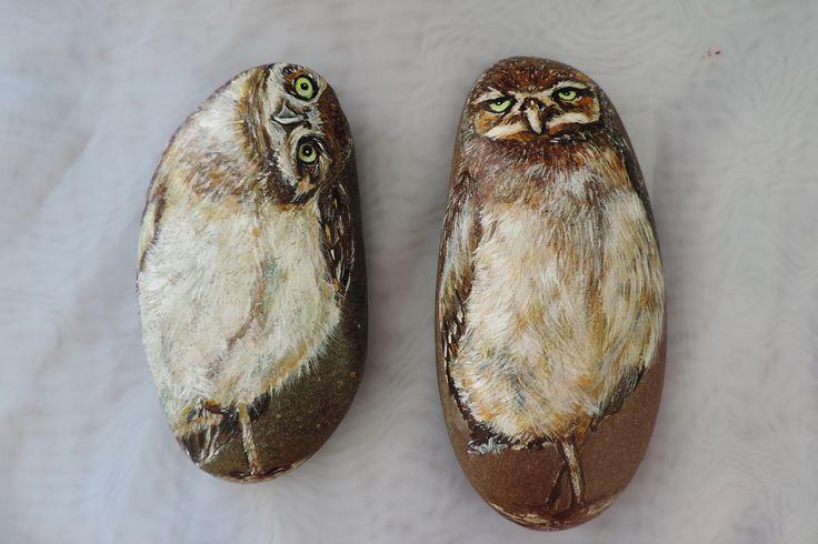 Совы чудачки( роспись камня акриловыми красками)