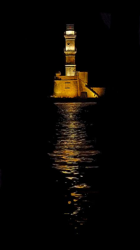 Chania Lighthouse at night, Chania, Crete, Greece